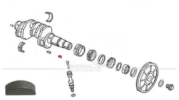 Scheibenfeder für Riemenscheibe, passend für Typ 1 (6x9mm)