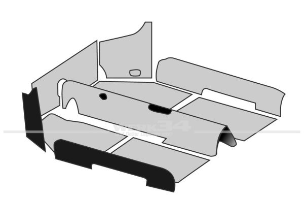 Teppichsatz 1302 Cabrio schwarz Schlingenware, passend von 08/70-07/72 Käfer,Teppichsatz,Innenraum
