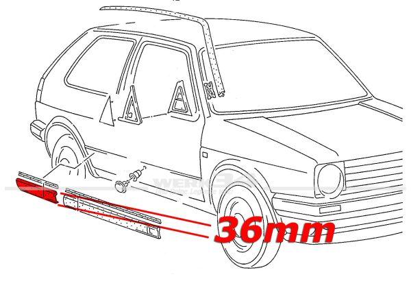 Zierleiste 36mm, Seitenteil rechts, Golf II GTI ab 08/87 2-türer