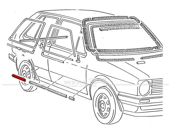 Zierleiste 35mm, Tür hinten rechts, Golf II bis 86, 4-türer
