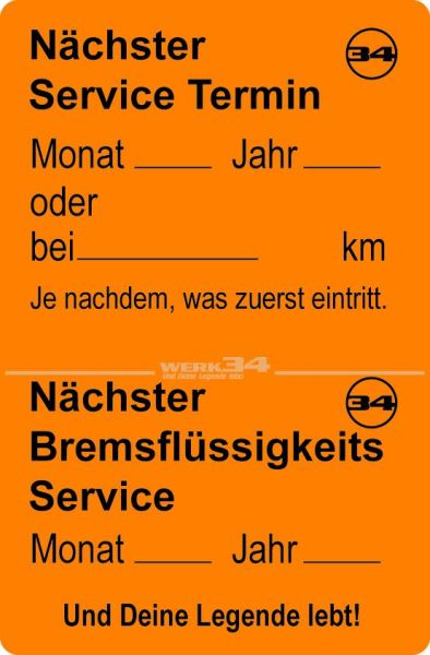 Service Aufkleber, orange