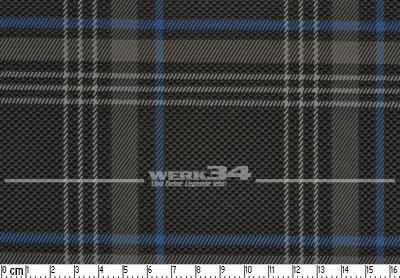 Bezugstoff schwarz grau blau, Schottenkaro, verbaut z.B. bei Golf VII GTE, Grundpreis: 49,28 EUR pro m2