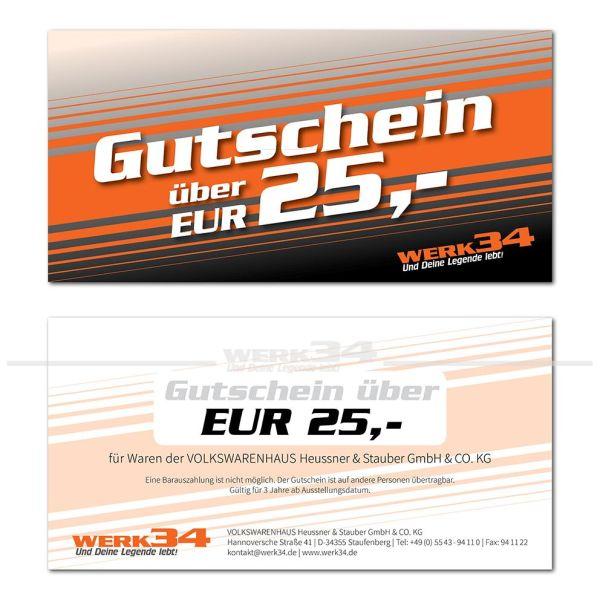 Geschenk - Gutschein im Wert von EUR 25,- Post