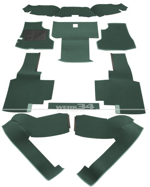 Teppichsatz vorn, Velours grün, für Bus T3 Benziner und Diesel ab Bj 08/79