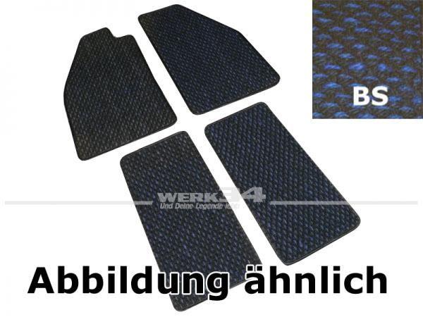 Fußmattensatz Kokos, 4-teilig, für Käfer Bj 08/59 - 07/72, BS blau / schwarz
