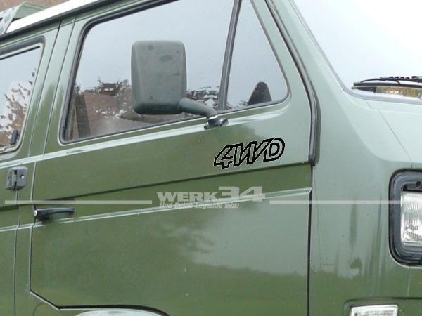 Aufkleber Set 4WD für Bus T3, schwarz