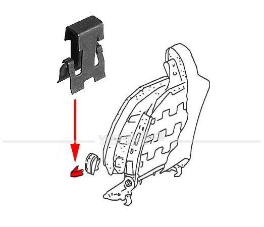 Klammer für Sitzlehnenentrieglungsknopf