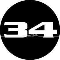 """""""WERK34""""-Aufkleber rund, schwarz"""