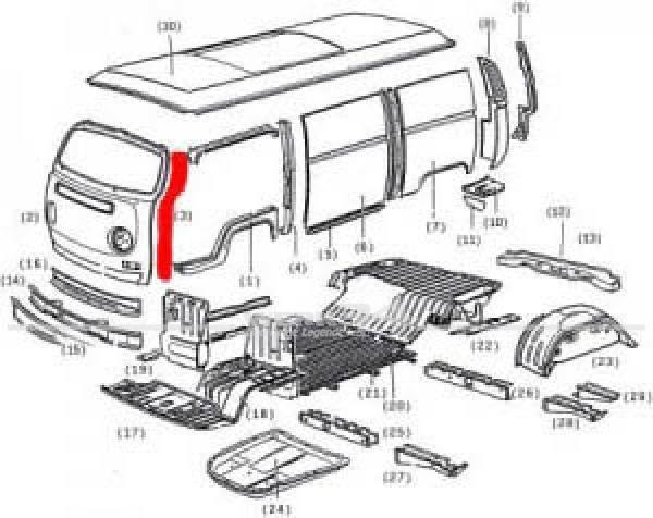 A-Säule links, passend für Bus T2 08/72-07/79