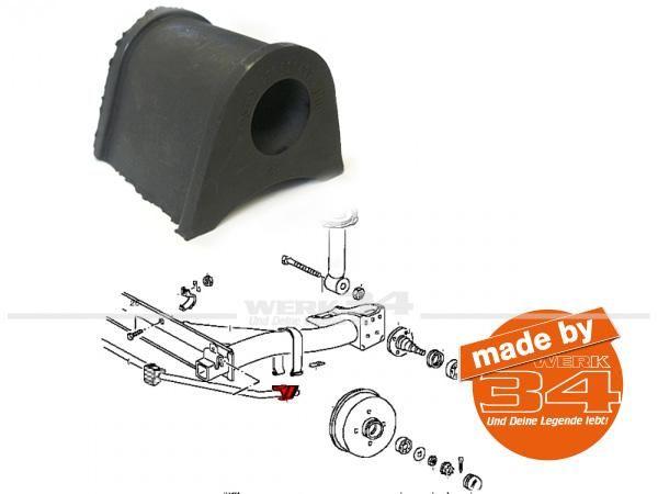 Gummilager für Stabilisator hinten/ außen, passend für Golf I + Golf I Cabrio, 21mm