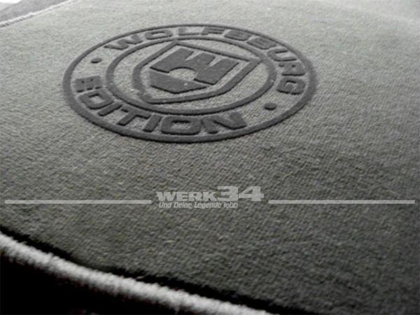 """Fußmatten Set, passend für Golf V, schwarz - schwarz, Logo """"WOB"""" in schwarz"""