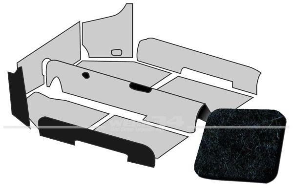 Teppichsatz 1200 Limousine schwarz Velours, passend ab 08/72 Käfer,Teppichsatz,Innenraum