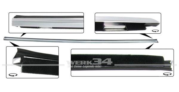 Schachtleiste aus Aluminium mit Dichtung, rechts, passend für Coupé ab 08